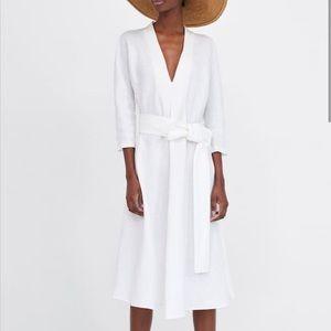 Zara A-Line Linen Midi Belted Dress